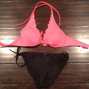 VS Swim Fire Coral/ Black Underwire Bikini 32DD/ M